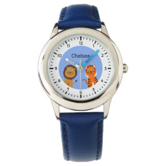 Custom name kids lion tiger watch