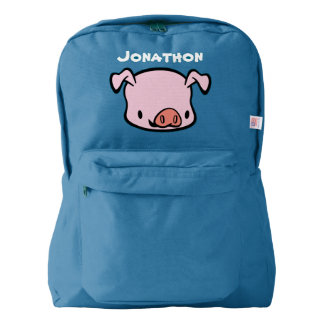 Custom Name Kids School Backpack (pig)