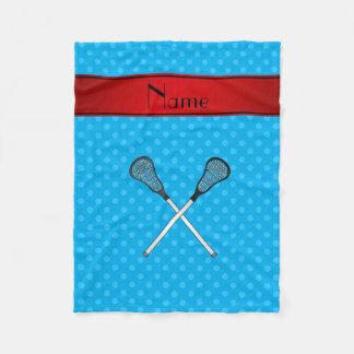 Custom name lacrosse sticks sky blue polka dots fleece blanket