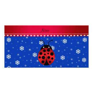 Custom name ladybug blue snowflakes red stripe photo card