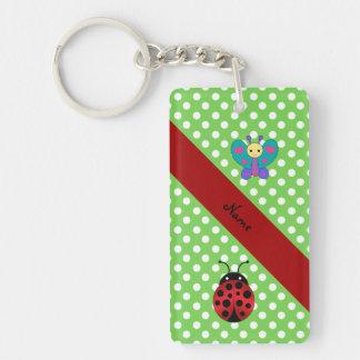 Custom name ladybug butterfly green polka dots keychain