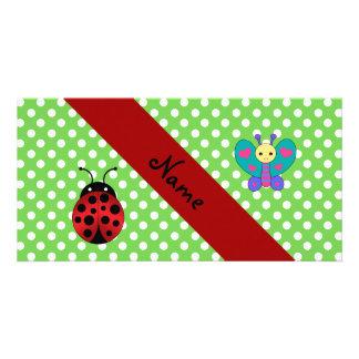 Custom name ladybug butterfly green polka dots photo card template