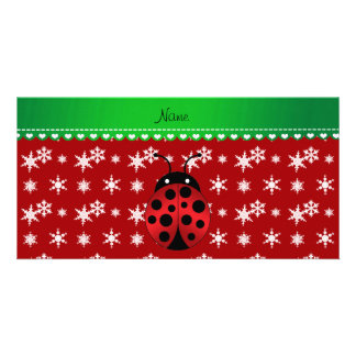 Custom name ladybug red snowflakes green stripe customized photo card