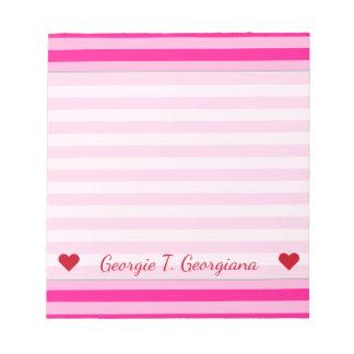 Custom Name + Light Pink & Deep Pink Stripes Notepad