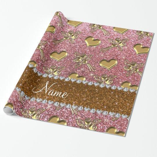 Custom name light pink glitter gold roses hearts