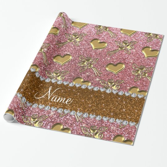 Custom name light pink glitter gold roses hearts wrapping paper