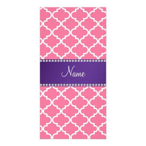 Custom name light pink moroccan purple stripe photo greeting card