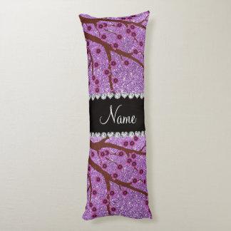 Custom name light purple glitter cherry blossoms body pillow