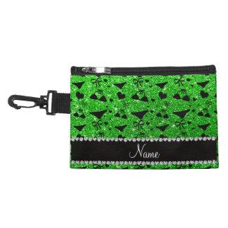 Custom name lime green glitter bikini bows accessory bags