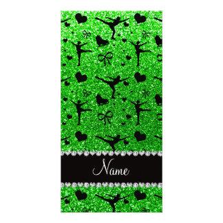 Custom name lime green glitter figure skating photo card template