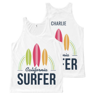 Custom Name & Location Surfer tank top