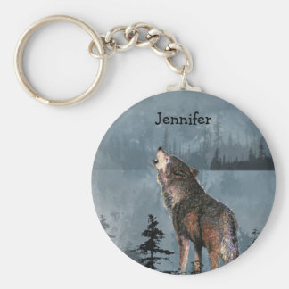 Custom Name Lonely Wolf Howling across Lake Keychain