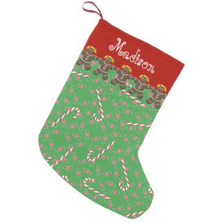 Custom Name Madison Gingerbread Cookies Holiday Small Christmas Stocking