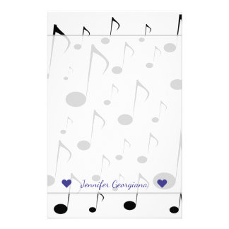 Custom Name + Many Musical Notes Pattern Stationery