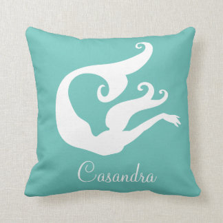 Custom Name Mermaid White on teal blue pillow