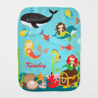 Custom Name Mermaids & Ocean Life Baby Burp Cloth