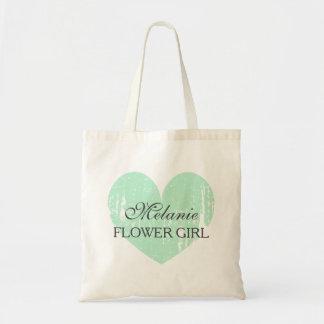 Custom name mint gray flower girl wedding tote bag
