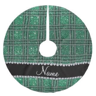 Custom name mint green glitter plaid brushed polyester tree skirt