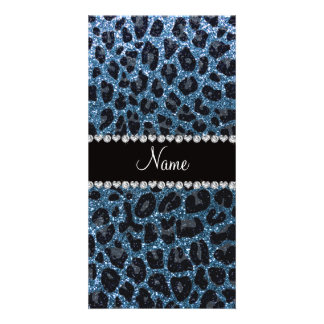 Custom name misty blue glitter leopard print picture card