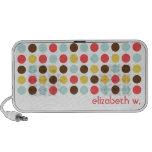 Custom name modern polka dot colourful pattern iPod speakers
