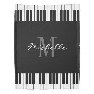Custom name monogram black and white piano keys duvet cover