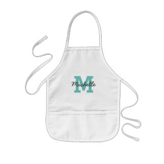 Custom name monogram kids baking apron