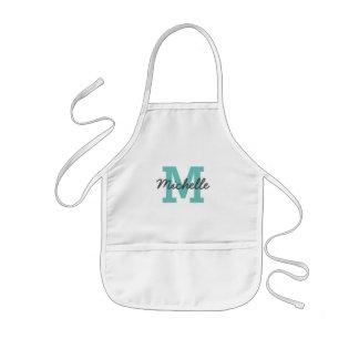 Custom name monogram kids baking apron