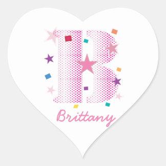 Custom Name Monogram Letter Initials Pink Letter B Heart Sticker