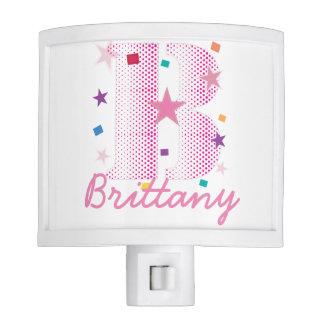 Custom Name Monogram Letter Initials Pink Letter B Night Lite