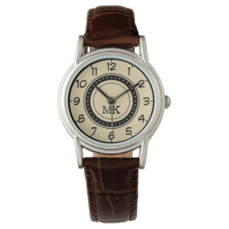 Custom Name Monogram. Vintage Cream Face Wrist Watch