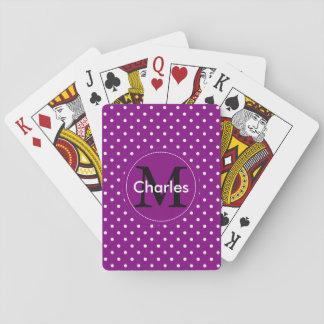 Custom Name Monogram.Violet White Polka Dots Playing Cards