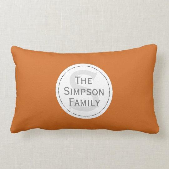 Custom Name Monogrammed. Cinnamon Orange & White Lumbar Pillow