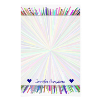Custom Name + Multicolored Line Burst Pattern Stationery