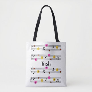 Custom Name Music Notes All Over Print Tote Bag