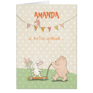 Custom Name Nanny Thanks Bear and Bunny Card