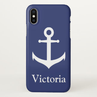 Custom Name Nautical Blue and White Phone Case