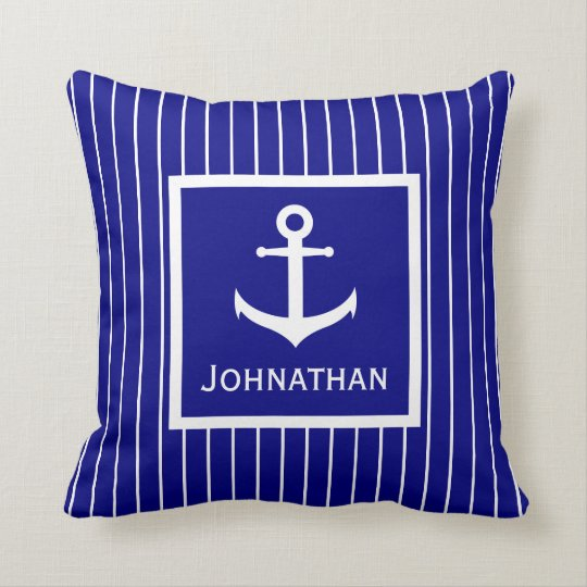Custom Name Navy Blue and White Anchor Pillow