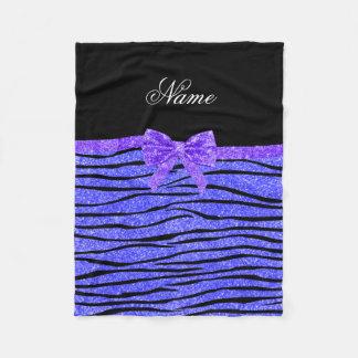 Custom name neon blue glitter zebra stripes bow fleece blanket