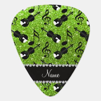 Custom name neon green glitter violins music notes pick