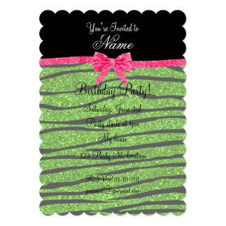 "Custom name neon green glitter zebra stripes bow 5"" x 7"" invitation card"