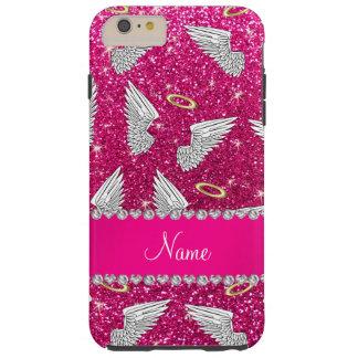 Custom name neon hot pink glitter angel wings tough iPhone 6 plus case