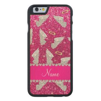 Custom name neon hot pink glitter angel wings carved® maple iPhone 6 slim case