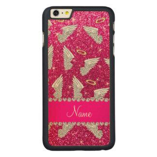 Custom name neon hot pink glitter angel wings carved® maple iPhone 6 plus slim case