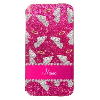 Custom name neon hot pink glitter angel wings incipio watson™ iPhone 6 wallet case