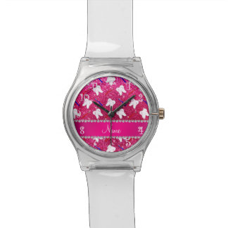 Custom name neon hot pink glitter brushes tooth watch