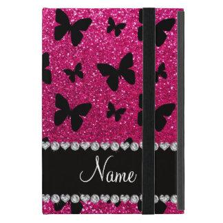 Custom name neon hot pink glitter butterflies cover for iPad mini