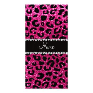 Custom name neon hot pink glitter cheetah print photo card template