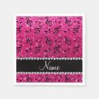 Custom name neon hot pink glitter music notes napkin