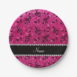 Custom name neon hot pink glitter music notes paper plate