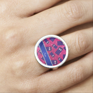 Custom name neon hot pink glitter police box photo rings